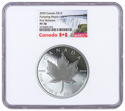 2020 Canada 2 oz Silver Pulsating Maple Leaf Proof $10 NGC PF70 UC FR SKU59156