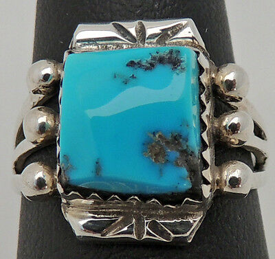 Hand Made Estate Sterling Silver Carved Turquoise Ring Size 7.5