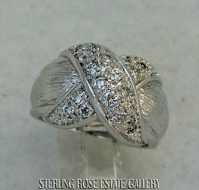 """""""CROSS MY HEART"""" Sterling Silver Estate WHITE STONE BAND RING size 6.25"""