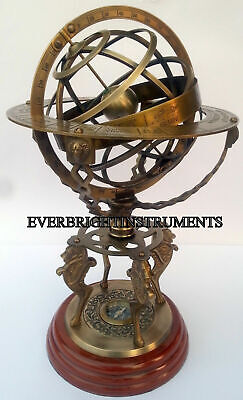 Nautical Solid Brass Large Engraved Armillary Sphere Globe With Working Compass