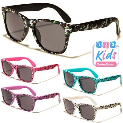 Kids / Childrens Sunglasses - Retro Frame Unicorn Print Girls / Boys  7-12 Years