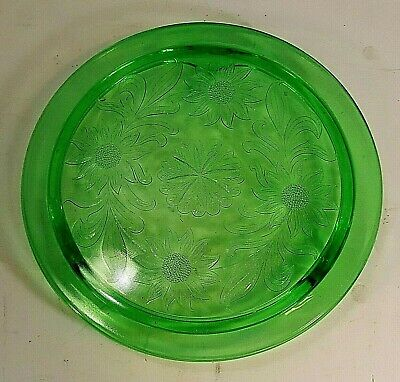 Pair Of Vintage Green Raised Floral Design Depression Glass Footed Cake Plates