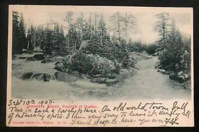 1903 Quebec Canada RPPC postcard Cover To London England Jeanotte River View