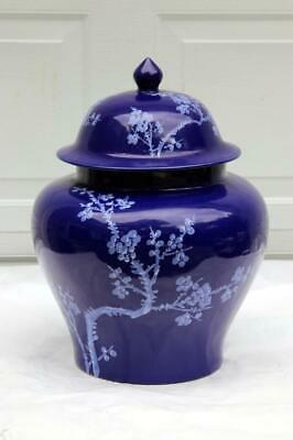 Very Large Chinese Blue Porcelain Temple Jar Zhongguo