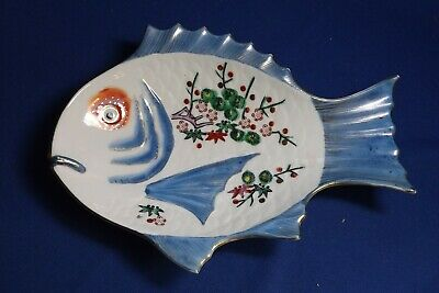 """Vintage Japanese Imari 9 1/2"""" Fish Plate  Hand Painted & SIGNED EXCELLENT"""