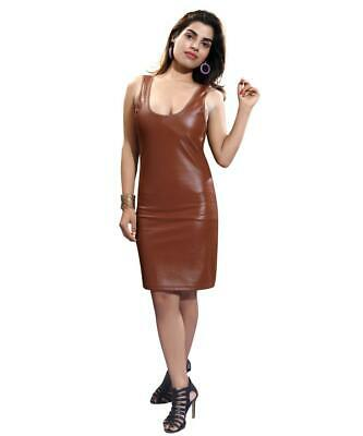 Goth PVC Micro Mini Dress Women's Short Scoop Neck Tan Wet Look Party Club