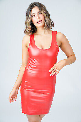 Red Short PVC Dress Women's Sexy Wet Look Scoop Neck Bodycon Micro Mini Fitted