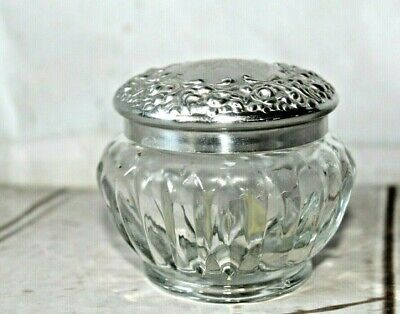 Vintage French Glass Chantilly Vanity Jar by Houbigant Art Nouveau Inspired H
