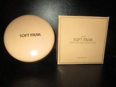 Avon NOS Vintage SOFT MUSK BEAUTY DUST Powder Puff CONTAINER w/ DUST -1980's