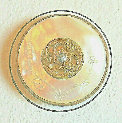 """Antique Etched Mother of Pearl Button w Pierced Brass Openwork Trim 1 1/4"""" OLD"""