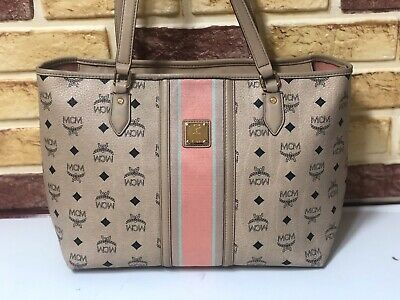 Details about Authentic MCM Visetos Lion Shopper Bag White H9782 Guaranteed Shoulder Bag MA486