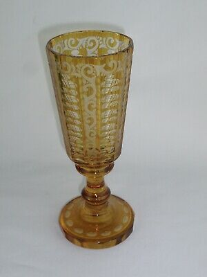 Bohemian Czech Crystal Glass Vintage Gold Cut to Clear Etched Vase