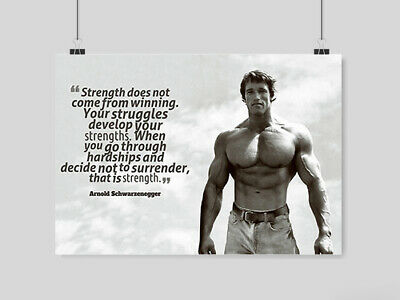 Arnold Schwarzenegger Poster Motivation Quote Conquer Gym  Print A3 A4 Size