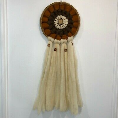 Vintage Wool Indian Dream Catcher Large Beaded Hand Made Southwestern Boho