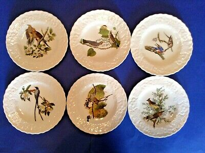 Set of 6 Alfred Meakin Audubon Bird Dinner Plates - Embossed Borders - England