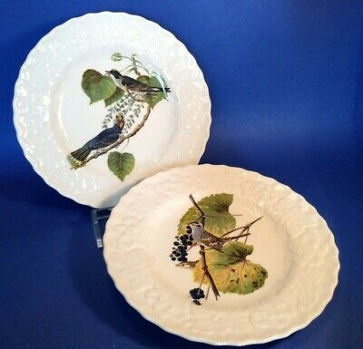 2 Alfred Meakin Audubon Bird Dinner Plates - Scalloped Embossed Rims - England