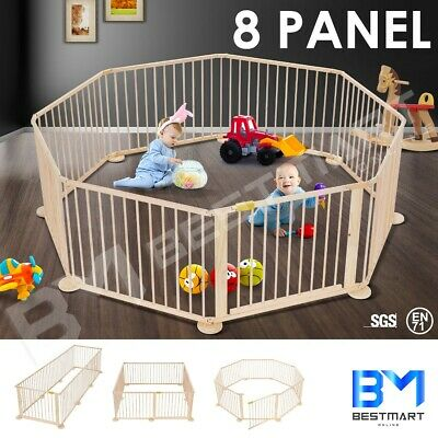 Wooden 8 Panel Pet Kids Baby Playpen Foldable & Removable - Burlywood