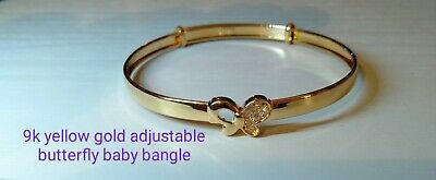 9k Yellow Gold Babys/child Adjustable Butterfly Bangle With Cubic zirconias