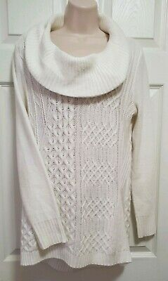 A N A Womens Ivory Cream Cowl Neck Sweater size Medium Soft Knit Pullover