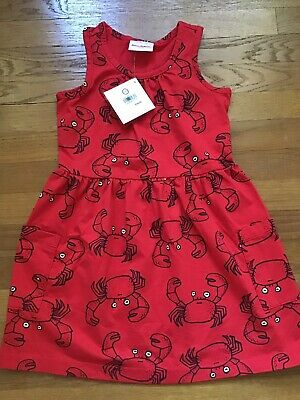 Hanna Andersson Girls So Breezy Red Crab Pocket Tank Top Play Dress 5 Size 110