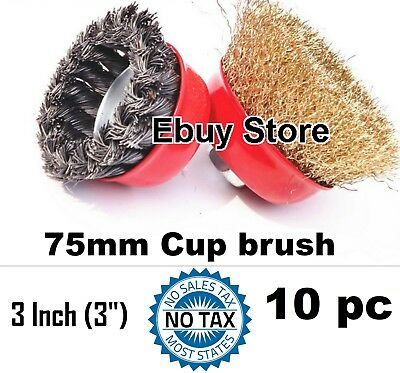 "10pc 3"" x 5/8"" Arbor FINE Crimped & Knot Wire Cup Brush Twist For Angle Grinders"