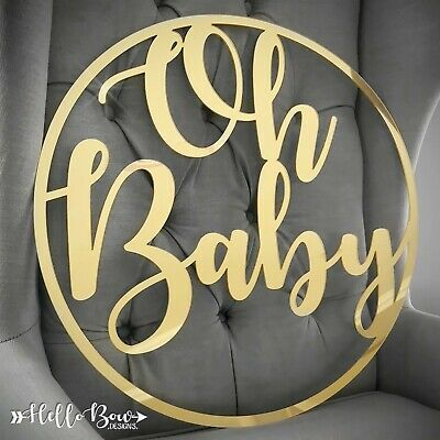 60cm Wide Gold Rose Gold Silver Mirror Acrylic Personalized Hoop Party Name Sign