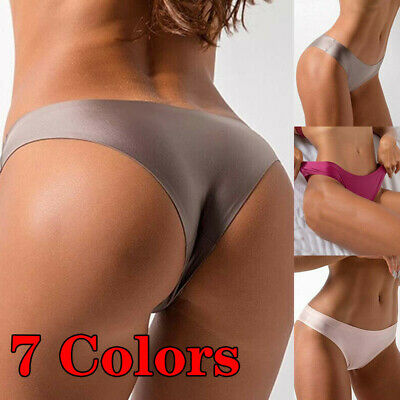 Women Ice Silk Thong Panties Sexy Briefs Seamless Solid Color Underwear G-String
