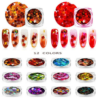 1g Nail Art Maple Leaf Sequin Laser Nail Glitter Thin Sticker DIY Manicure Decor