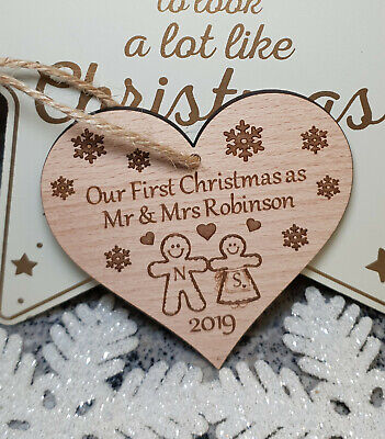 Gingerbread Man Mr /& Mrs Christmas Hanging Tree Decoration Xmas Gift Tag Home