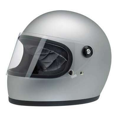 Biltwell Gringo S DOT Rated Motorcycle Helmet - Flat Silver | Free UK Delivery