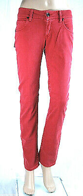 Pantaloni Donna Jeans MET Made in Italy Gamba Dritta Rosso Corallo C303 Tg 27