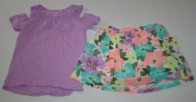 New Carter's Girls 2 Piece Outfit Set 4 5 Year Purple Top & Floral Skort Skirt
