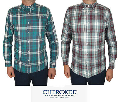 Mens Casual Pure Cotton Long Sleeve Checked Shirt S-XL Sale!