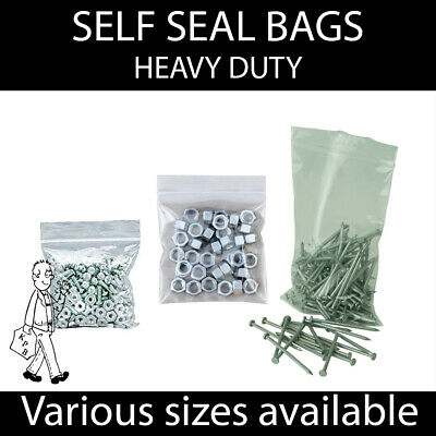 Clear Self Seal Grip Seal Plastic Bags Resealable HEAVY DUTY All sizes