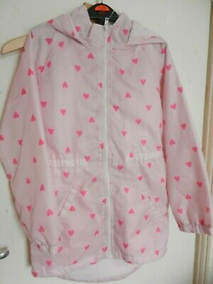 Pink  (LOVE HEARTS) GIRLS RAINCOAT size 11 years
