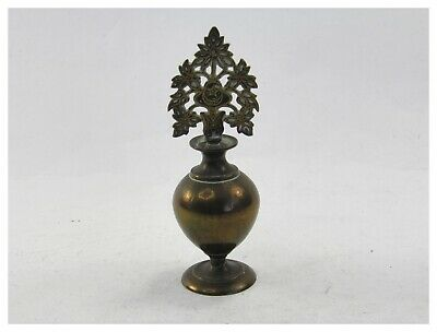 Antique late 19th century brass Indian bottle or Kohl pot & cover