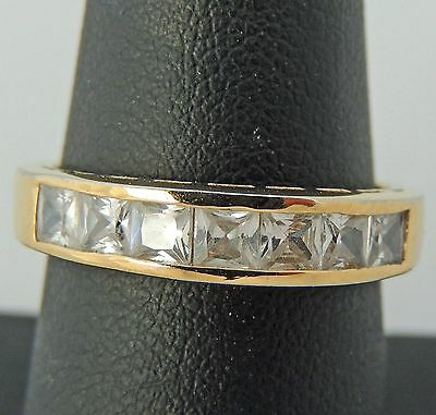 Beautiful Sterling Silver Vermeil White Stone Cocktail Band Ring Size 8