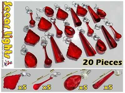 Red Chandelier Crystals Glass Drops Prisms Beads Deco Christmas Tree Decorations