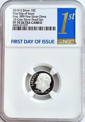 2019 S .999 FINE SILVER PROOF DIME 10c NGC PF70 FIRST DAY ISSUE United States