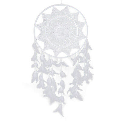 White Large Hoop Handmade Dream Catcher With Feathers Hanging Dreamcatcher Decor