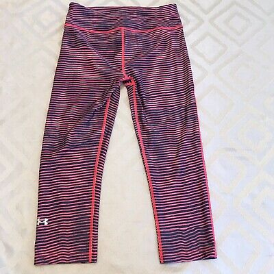 Under Armour Womens Heatgear Pink Blue Compression Capri Cropped Leggings Size S