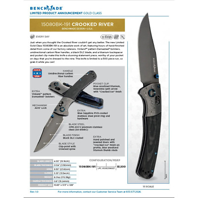 Benchmade LIMITED EDITION Gold Class Crooked River AXIS Lock Knife Carbon Fib...