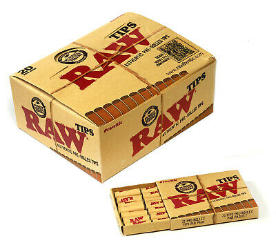 RAW Natural Unrefined Pre-Rolled Filter Tips - 1 box 20 x 21 tips