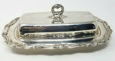 Vintage Ornate F.B. Rogers Silver Co Butter Dish w Lid Silver Plate Glass Insert