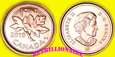 2010 CANADA UNCirculat 1 CENT CANADIAN PENNY, ZINC  (NON MAGNETIC) ONE CENT.