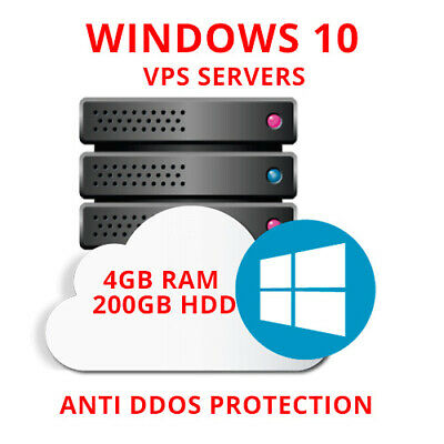 Windows 10 VPS (Virtual Dedicated Server) 4GB RAM +200GB HDD+UNMETERED TRAFFIC