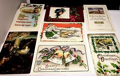 Seven Post Cards Early 1900s Christmas Vintage Antique