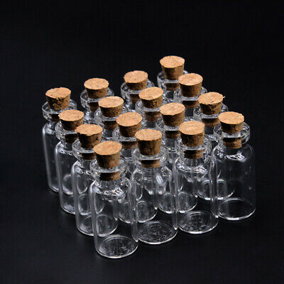 Vials Glass Bottle Tiny Small Transparent Message Bottles With Cork Stopper