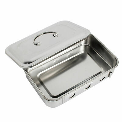 Good Stainless Steel Dental Medical Instrument Sterilizer Box Square Dish Lid