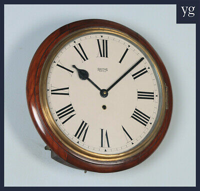 """Antique 15"""" Mahogany Smiths Enfield Railway Station School Round Dial Wall Clock"""
